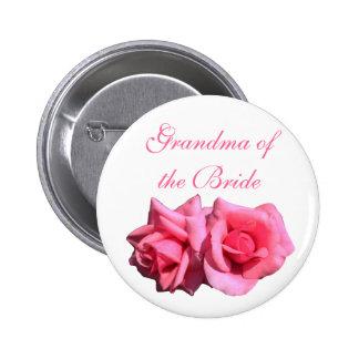 pink rose grandma of the bride, wedding button