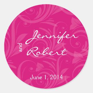 Pink Rose Graphic Wedding Envelope Seal
