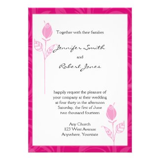 Pink Rose Graphic Wedding Invitation
