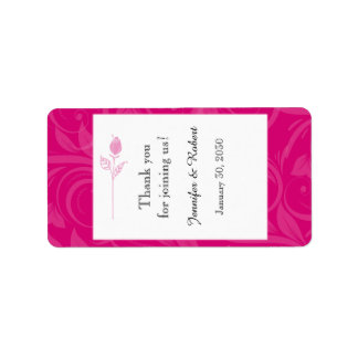 Pink Rose Graphic Wedding Lip Balm Label