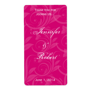 Pink Rose Graphic Wine Label Shipping Label