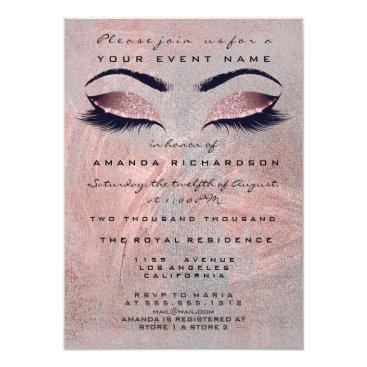 Bride Themed Pink Rose Gray Bean Makeup Eye Glitter 16th Bridal Card