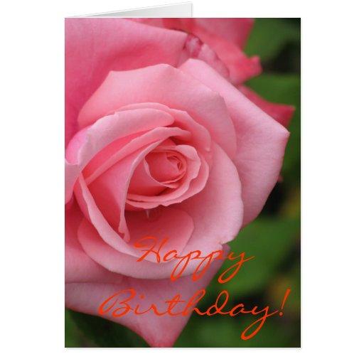 pink rose birthday card