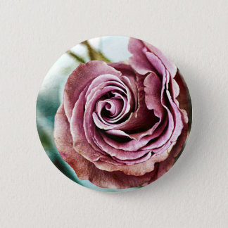 Pink Rose Gritty Vintage Pinback Button