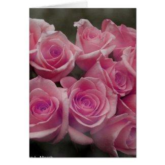 Pink rose group bunch photograph design card