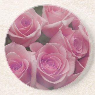 Pink rose group bunch photograph design coaster