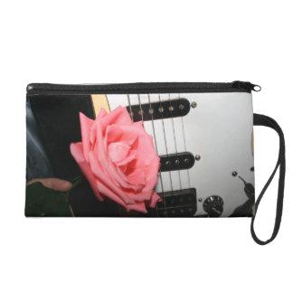 Pink rose guitar body strings pickguard music wristlet purse