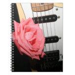 Pink rose guitar body strings pickguard music spiral note book