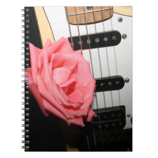 Pink rose guitar body strings pickguard music spiral notebook