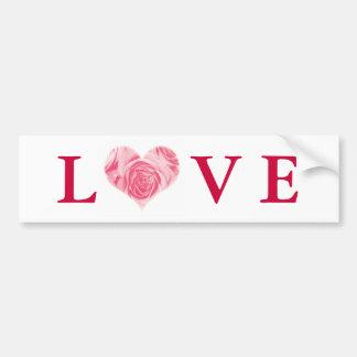 Pink Rose Heart Love Bumper Sticker Car Bumper Sticker