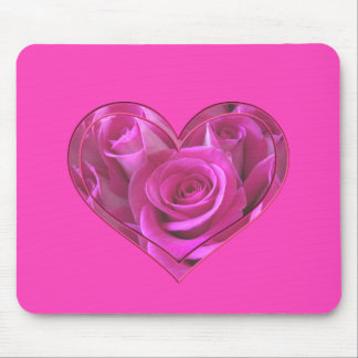 Pink Rose Heart Mouse Pad