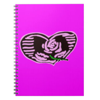 Pink Rose Heart Note Book