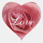 Pink Rose Heart Sticker