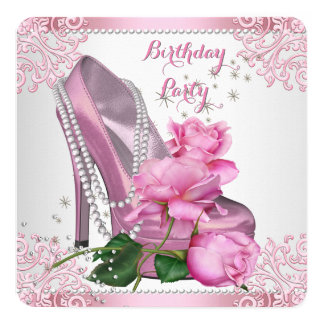 Pink Rose High Heel Lace Pearls Birthday Party Card