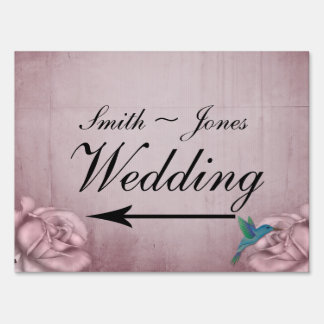 Pink Rose Hummingbird Wedding Direction Sign