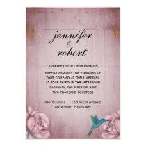 Pink Rose Hummingbird Wedding Invitation