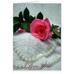 Pink Rose, I Love You Cards