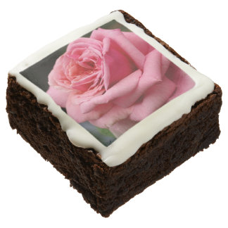 Pink Rose I Pretty Floral Photography Chocolate Brownie