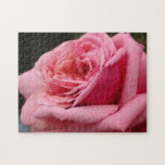 Pink Rose I Pretty Floral Photography Jigsaw Puzzle