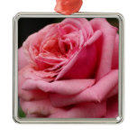 Pink Rose I Pretty Floral Photography Metal Ornament