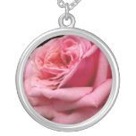 Pink Rose I Pretty Floral Photography Silver Plated Necklace