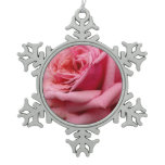 Pink Rose I Pretty Floral Photography Snowflake Pewter Christmas Ornament