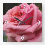 Pink Rose I Pretty Floral Photography Square Wall Clock