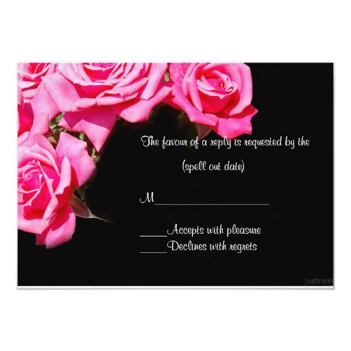 pink rose ii rsvp 5x7 paper invitation card