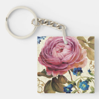 Pink Rose in Full Bloom Double-Sided Square Acrylic Keychain