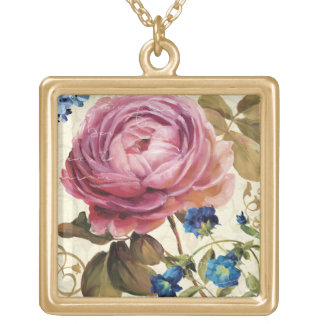 Pink Rose in Full Bloom Square Pendant Necklace