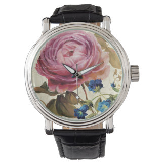 Pink Rose in Full Bloom Wrist Watches