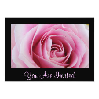 """Pink Rose In The Rain Party Invitations 5"""" X 7"""" Invitation Card"""