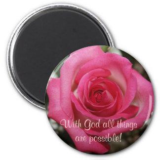 pink rose inspirational magnet