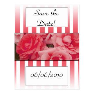 Pink rose invitation save the date wedding invite postcard