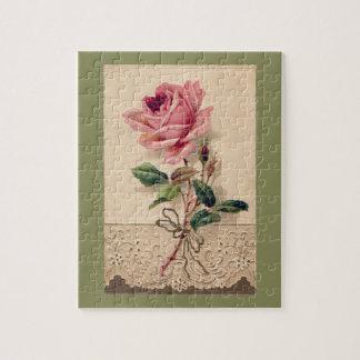Pink Rose & Lace Floral Romance Vintage Puzzles
