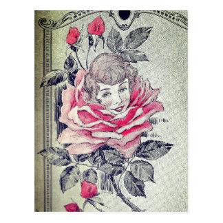 Pink Rose Lady Postcard | Vintage