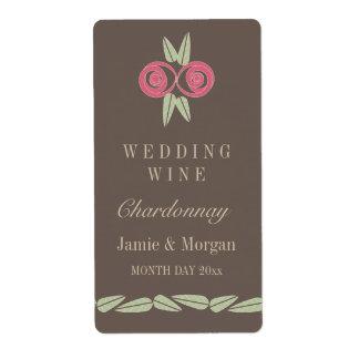 Pink Rose Leaves Brown Retro Wedding Wine Label