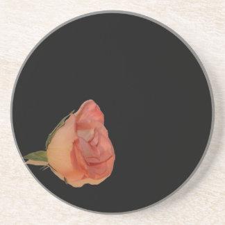Pink rose left corner black background design beverage coasters