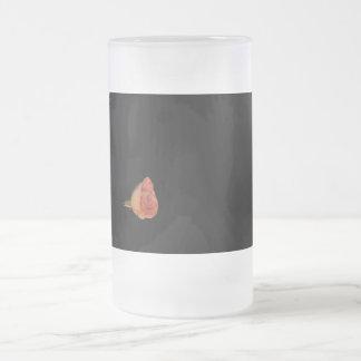Pink rose left corner black background design mugs