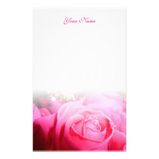 Pink Rose Letterhead Stationery