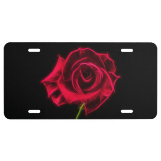 Pink Rose License Plate