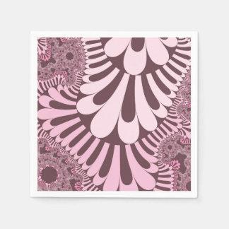 Pink Rose Loop Pattern Paper Napkins Standard Cocktail Napkin