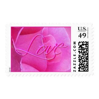PINK ROSE & LOVE by SHARON SHARPE Postage Stamp