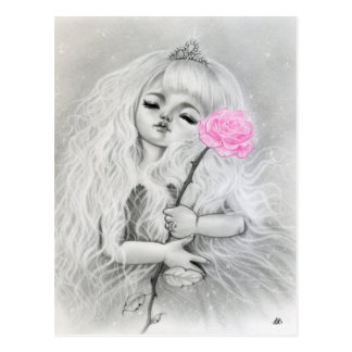 Pink Rose Love  Dreamy Girl Big Eye Art Postcard