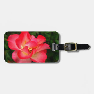 Pink Rose  Luggage Tag w/ leather strap
