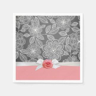 Pink Rose Luxury Floral Grey Damask Napkins