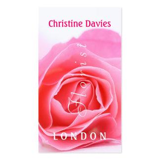 Pink rose macro photograhy, florist business card