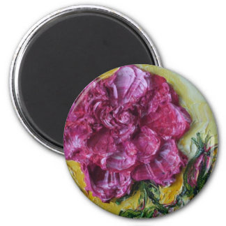 Pink Rose Maget Painting by Paris Wyatt Llanso Magnet