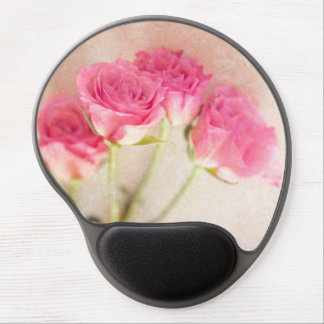 Pink Rose Marble Stone Background Collage Roses Gel Mouse Pad