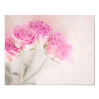 Pink Rose Marble Stone Background Collage Roses Photo Print
